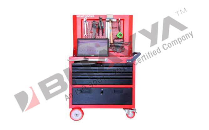 3DCWS Rolling  work station With 3 Drawer & Cabin With Perforated Panel for hanging tools (Economy).